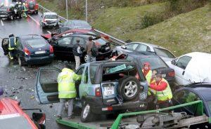 accidente de colisión multiple
